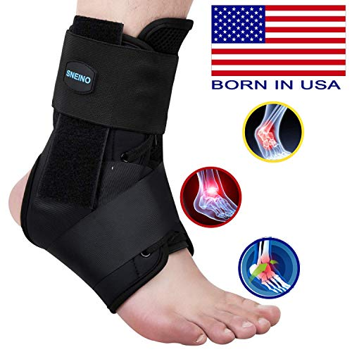SNEINO Ankle Brace,Lace Up Ankle Brace for Women,Ankle Brace for Sprained Ankle,Ankle Supports for Women,Kids,Ankle Braces for Basketball,Volleyball Ankle Braces (Medium, Upgrade) ()