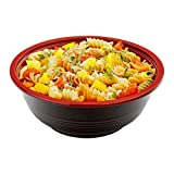 Large Asian Panda Microwavable 34-OZ Bowl - PP Black and Red with Clear Plastic Lid: Perfect for Catering Events and Restaurant Takeout – Disposable and Eco-Friendly – 200-CT