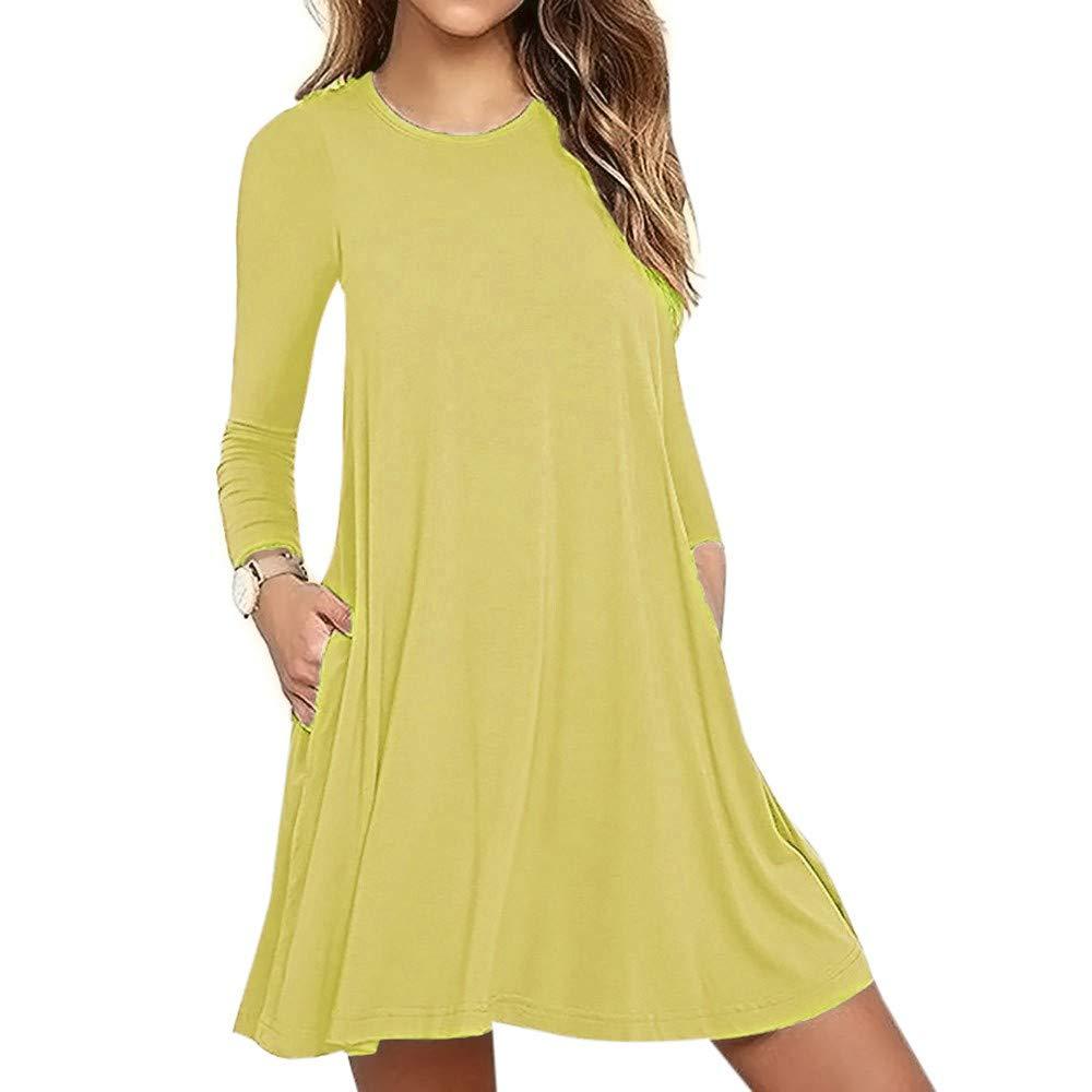 aiNMkm Women Dress,2019 Women's Solid Long Sleeve Pocket Casual Maxi Dresses Loose T-Shirt Dress Yellow
