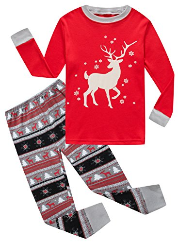 Family Feeling Big Girls Long Sleeve Christmas Pajamas Sets 100% Cotton Pyjamas Kids Pjs Size 9 Years Reindeer
