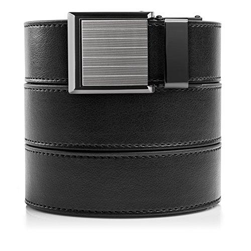 SlideBelts Black Vegan Leather Belt with Square Pinstripe (Pin Belt)