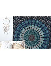 raajsee Tema Colore Blu Pavone Mandala arazzi, Tapestry, Psychedelic Indian Tapestry Bedding, Bohemian Wall Hanging, Floral Print Bed Cover, Hippy arazzo