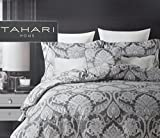 Tahari Home Luxury Bohemian Duvet Cover Luxury Boho Style Medallion Print in Blue Grey 3 Piece Bedding Set (Queen, Charcoal Shimmer)