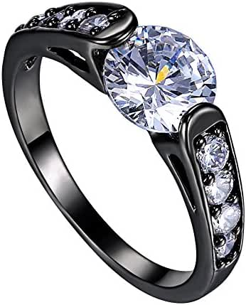 Rinhoo Jewelry White Vintage Cubic Zirconia Black Gold Crystal Ring Size7-9