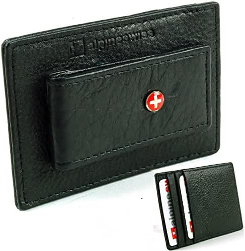 Alpine Swiss Men's Top Grain Leather Slim Line Money Clip Wallet Black