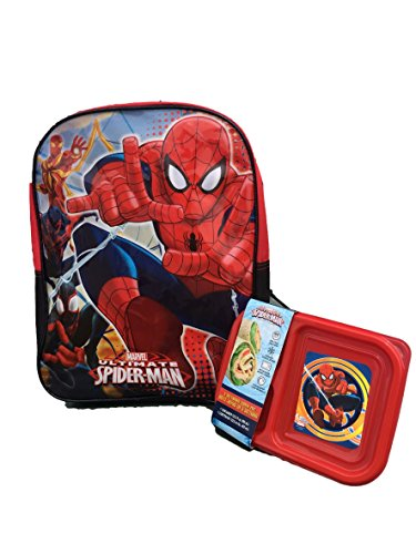 """Marvel Ultimate Spider Man 16"""" Backpack with Snack Mini Lunch Box Kit"""