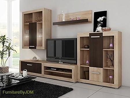 Living Room Furniture Set Tv Wall Unit Tv Table Set Viki Tv Bench Display Units Wall Mounted Shelve Sonoma Oak Light Wenge Amazon Co Uk Kitchen Home