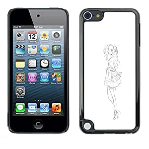 A-type Colorful Printed Hard Protective Back Case Cover Shell Skin for Apple iPod Touch 5 ( Fashion Sketch White Black Dress )