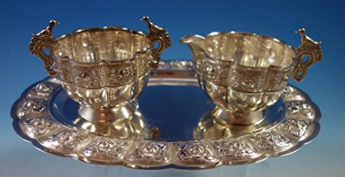 Aztec Rose by Sanborns Mexican Sterling Silver Sugar Creamer Tray Set 3pc #1769 (Creamer Aztec)