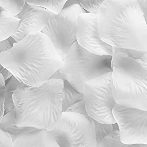 Super Z Outlet Silk Fabric Flower Mini Rose Petals for Weddings (1000 Pieces) (White) 28