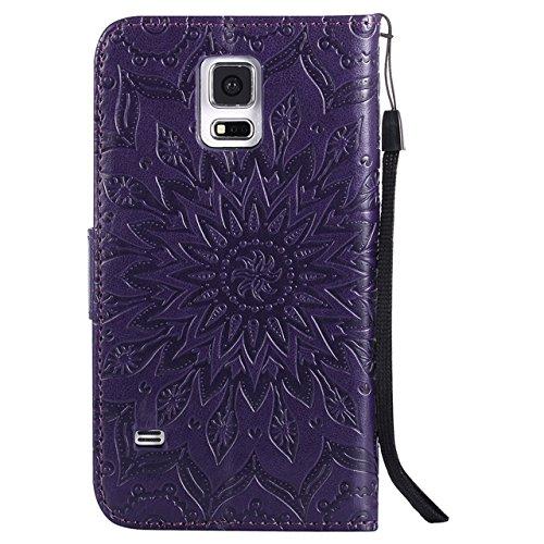 Carcasas y fundas Móviles, Para Samsung Galaxy S5 Funda, Sun Flower Diseño de la impresión PU Leather Flip Cartera Lanyard Funda protectora con ranura para tarjeta / Soporte para Samsung Galaxy S5 ( C Purple