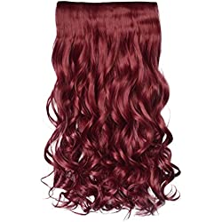 """REECHO 20"""" 1-Pack 3/4 Full Head Curly Wave Clips in on Synthetic Hair Extensions Hairpieces for Women 5 Clips 4.6 Oz per Piece - Wine red"""