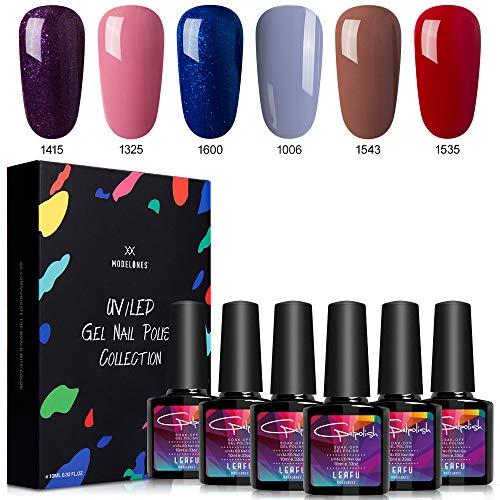 Modelones Gel Nail Polish Set - Glitter Blue Purple Series 6 Colors Nail Art Set, UV LED Soak Off Gel, 0.33 OZ 10ML