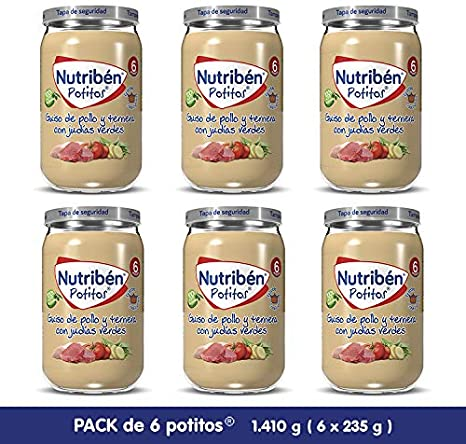 Nutribén Potitos De Guiso De Pollo Y Ternera con Judías Verdes Desde Los 6 Meses Pack de 6 x 235gr. 6 Unidades 235 g: Amazon.es: Alimentación y bebidas