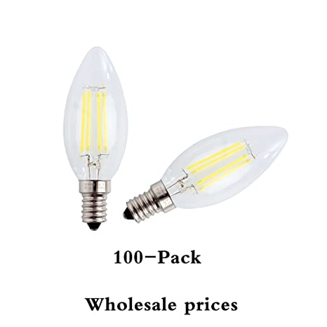 100-Pack wulun E14 LED vela bombillas de filamento 4 W, equivalente a 40