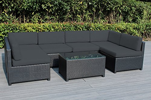Ohana Mezzo 7-Piece Outdoor Wicker Patio Furniture Sectional Conversation Set, Black Wicker with Gray Cushions – No Assembly with Free Patio Cover