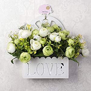 SituMi Artificial Fake Flowers Wall Mount FlowerVinesSilk FlowerBalconyNacelle.OutdoorDecorationGreenCamellia 63