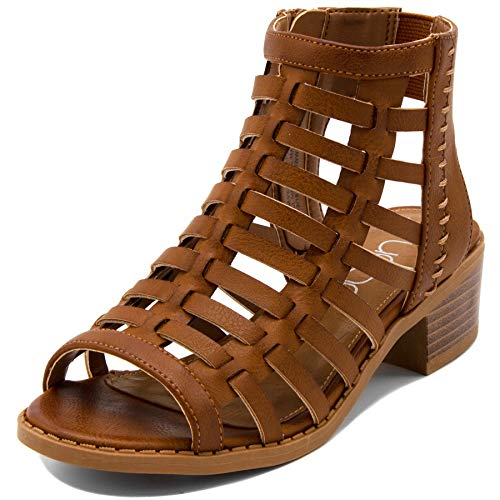 (Sugar Girls Open Toe Strappy Gladiator Sandal-Tan-3)