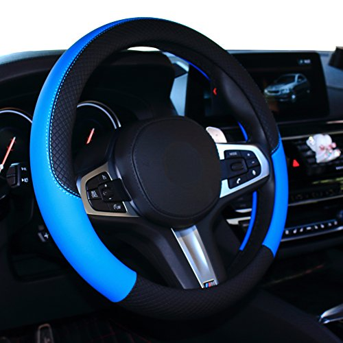 (SHIAWASENA Car Steering Wheel Cover, Leather, Universal 15 Inch Fit, Anti-Slip & Odor-Free (Black&Blue))