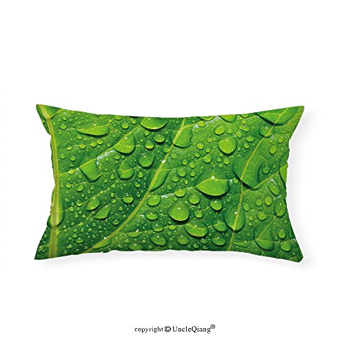 VROSELV Custom pillowcasesGreen Macro Close Up Photo of Fresh Big Tree Leaf with Drops of Water Natural Texture Botanical for Bedroom Living Room Dorm Green(16''x24'') by VROSELV