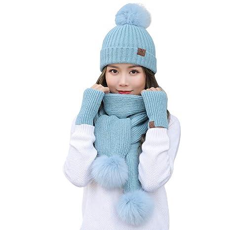 Donne Inverno a Maglia Cappello Sciarpa Guanti Set d71333199aa4