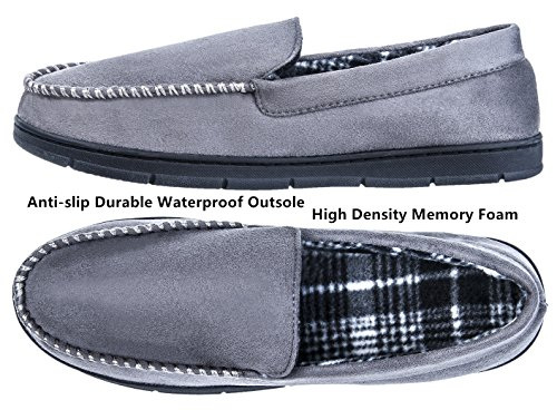 Indoor Memory Foam Outdoor Slippers Grey Festooning Insole Men's Moccasin x7FPFwIq
