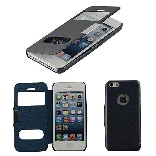 N20 Dunkelblau Flip Cover Mit Sichtfernster Fur Apple IPhone 5 5C 5S Schutzhulle Hulle Schale