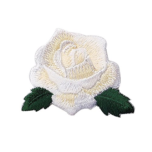 XUNHUI White Rose Embroidered Patch Flower Iron On Patches Stickers for Clothes Badge Applique 2 Pieces (Case Flower Patch)