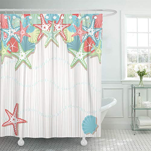 Semtomn Decorative Shower Curtain Seashell Beach Party Colored in Shades of Coral 72