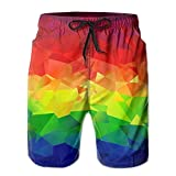 SARA NELL Mens Polygonal Geometric Rainbow Colorful Breathable Beach Board Shorts Swim Trunks Quick Dry