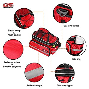 Arltb Bike Rear Bag (3 Colors) 20 - 35L Waterproof Bicycle Trunk Bag with Rain Cover Shoulder Strap Bike Pannier Tail Back Seat Bag Package Handbag Bike Accessories for Road Bikes Mountain (Red-)
