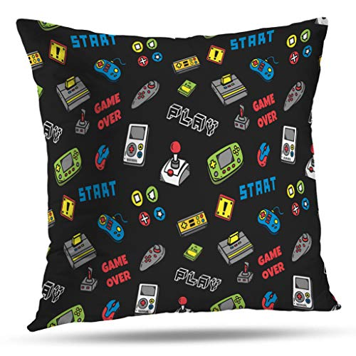 - LALILO Throw Pillow Covers, Video Game Controller Accent Double-Sided Pattern for Sofa Cushion Cover Couch Decoration Home Gift Bed Pillowcase 18x18 inch
