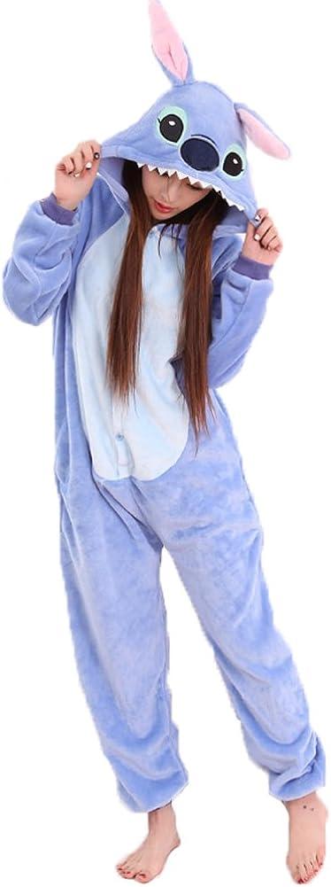 JunYito Pijama Pikachu Animale Disfraz Stitch Traje Niños Niña Adulto Mujer Invierno Kigurumi Unicornio Cosplay Halloween y Navidad (S, Stitch Adultos)