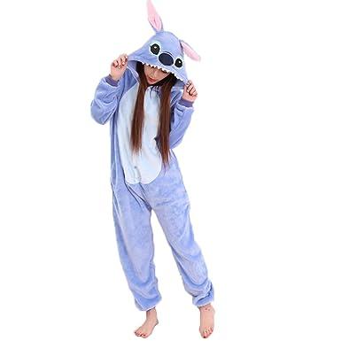 mejor venta disfruta de un gran descuento mejor selección JunYito Pijama Pikachu Animale Disfraz Stitch Traje Niños Niña Adulto Mujer  Invierno Kigurumi Unicornio Cosplay Halloween y Navidad