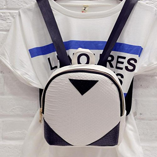 concise by TOPUNDER Bag Book White School Canvas 2018 for Women Backpack Serpentine Shoulder Rucksack E8awWqp
