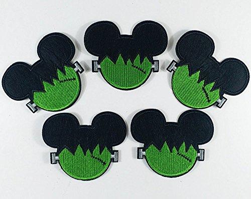 7.5x6.5cm Set of 10pcs Halloween Green Face Frankenstein