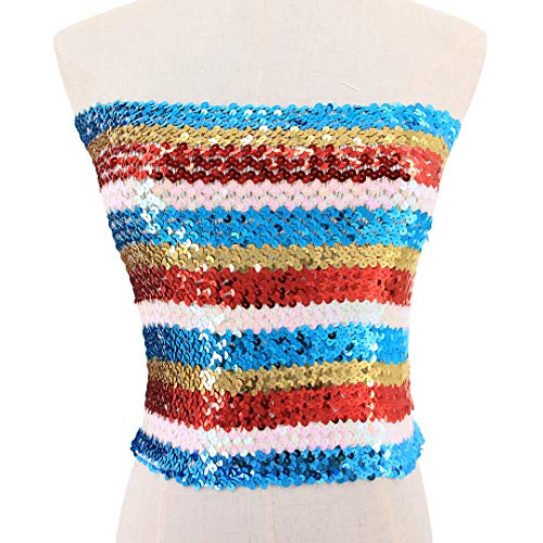 5d3004fb30 Hoohu Women s Sexy Fashion Glitter Sequin Stretchy Strapless Seamless  No-Padded Wrapped Chest Bandeau Tube