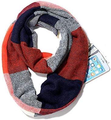 LHGY Carves Ladies scarf bib plaid scarf ladies winter scarf invisible pocket bib shawl wrap scarf warm zipper collar LHGY