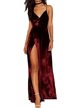 9e1a9bee0eb3 Withch Burgundy Wrap V-Neck Split Front Backless Velvet Maxi Dress ...