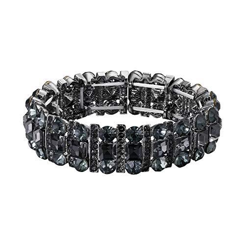 EVER FAITH Women's Austrian Crystal Art Deco Three Layers Prom Elastic Stretch Bracelet Grey ()