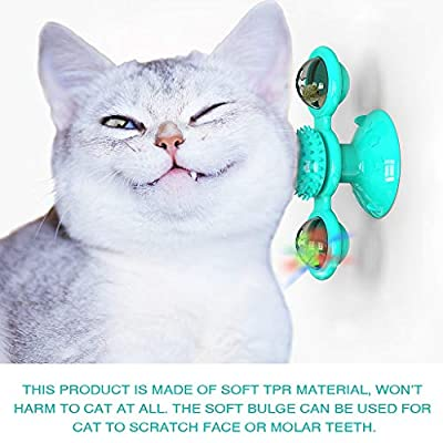 Glowing Ball Cat Toy,Simplylin Windmill Cat Toy Turntable Teasing Pet Toy Scratching Tickle Cats Hair Brush Funny Cat Toy (Blue): Home & Kitchen