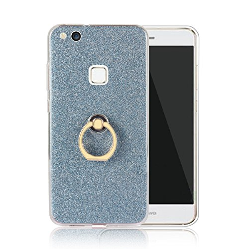 Price comparison product image Moonmini Huawei P10 Lite. Case Cover Sparkling Slim Fit Soft TPU Back Case Cover with Ring Grip Stand Holder 2 in 1 Hybrid Glitter Bling Bling TPU phone Case Cover (Blue)
