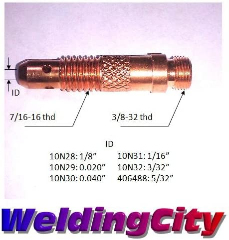 for TIG Welding Torch 17 1//8 18 and 26 WeldingCity 5-pk Collet Body 10N28
