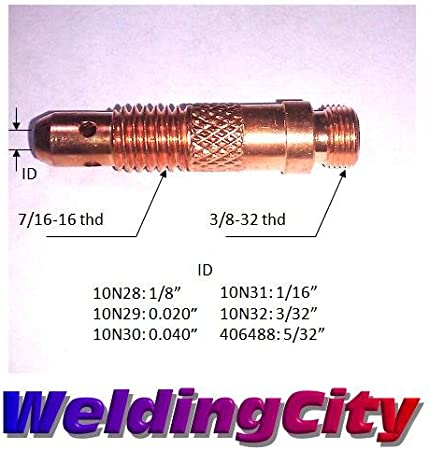 1//8 WeldingCity 2-pk Collet Body 10N28 for TIG Welding Torch 17 18 and 26 Series in Lincoln Miller ESAB Weldcraft CK Everlast