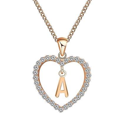 11521704679a Rongda Rose Gold Love Heart Letra Inicial Alphabet Charm Colgante ...