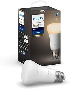 Philips Hue Philips E27 Hue White LED Smart Bulb, Bluetooth & Zigbee Compatible (Hue Hub Optional), Works with Alexa & Google Assistant