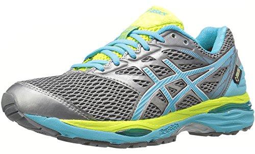 ASICS Women's Gel-Cumulus 18 G-TX Running Shoe, Aluminum/Aquarium/Neon Lime, 8 M US