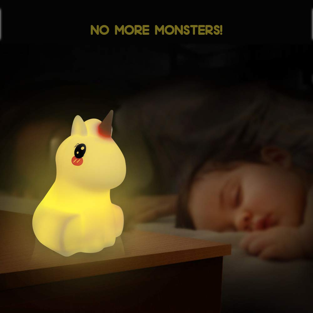 Kids Night Light Unicorn LED Touch Control Nightlight Mood Lamp with Remote Control Portable USB Rechargeable Multi-Color Changing Bedroom Lamp for Baby Girls Gifts Toys