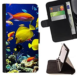 For Apple iPod Touch 6 6th Generation Underwater Coral Reef Diving Scuba Fish Style PU Leather Case Wallet Flip Stand Flap Closure Cover