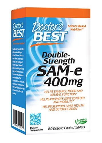 Doctor's Best SAM-e 400 mg, Vegan, Gluten Free, Soy Free, Mood and Joint Support, 60 Enteric Coated Tablets by Doctor's Best